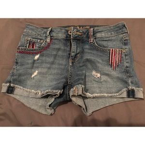NWOT Arizona red white blue jean shorts